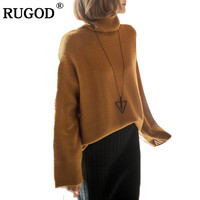 RUGOD Thick Warm Turtleneck Sweater Women 2018 Autumn Winter Sweet Loose Jumper Women Sweaters And Pullovers