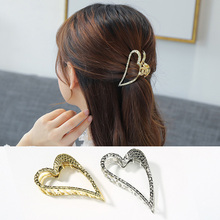 Ubuhle Korean Heart Hair Claws for Women Accessories Gold Silver Clips Fashion Crab Clamp Headwear Jewelry