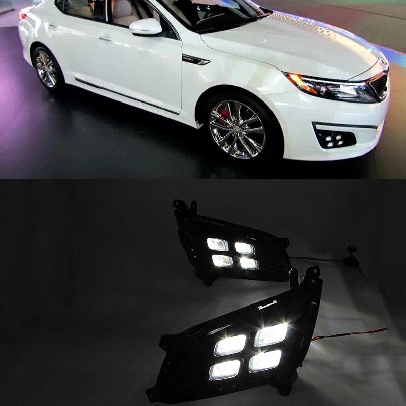 Car Flashing 2Pcs DRL For KIA Optima K5 2013 2014 2015 Daytime Running Lights with turn