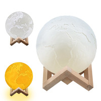 Led USB Charging Ball 3D Earth Lamp Night Light Luminous Table Desk Lamp With Magnetic Stent