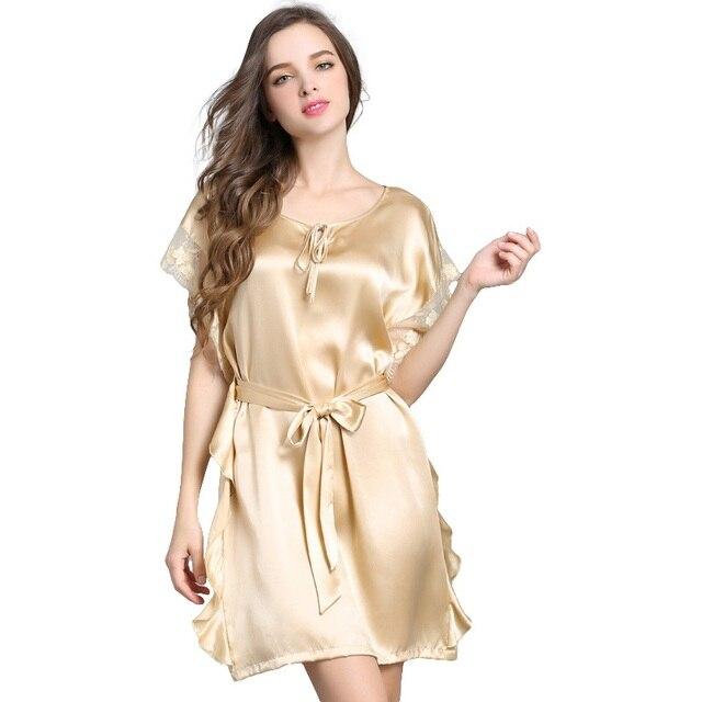 82a82d4aab9fa 100% soie Satin femmes chemise de nuit dentelle manches courtes chemise de  nuit couleur unie