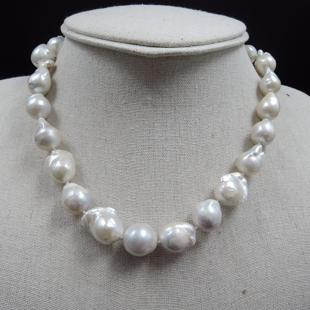 100% NATURE FRESH-WATER Baroque PEARL NECKLACE-big pearls-nature colors