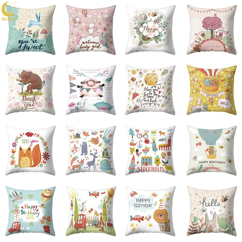 OCHINE Fresh Cute Flannel Pillowcase For Couch Bedroom Living Room