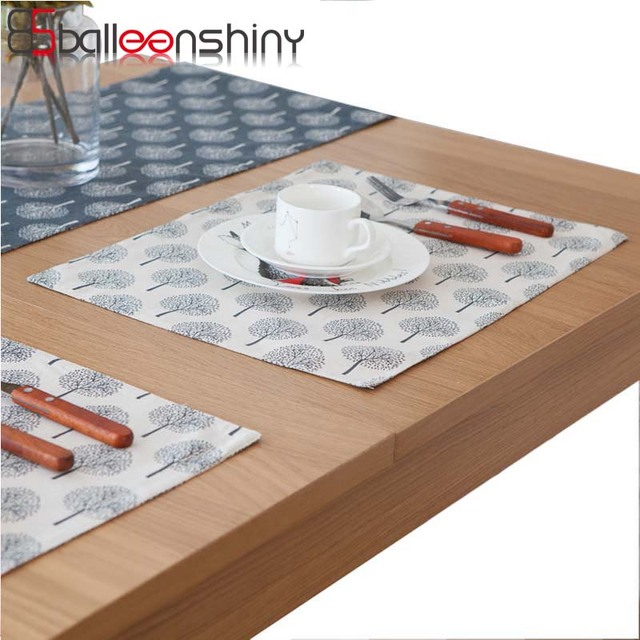 Balleenshiny Anese Simple Style Washable Dark Blue Cotton Placemat Dining Table Mat Dish Pads Bowl Napkin