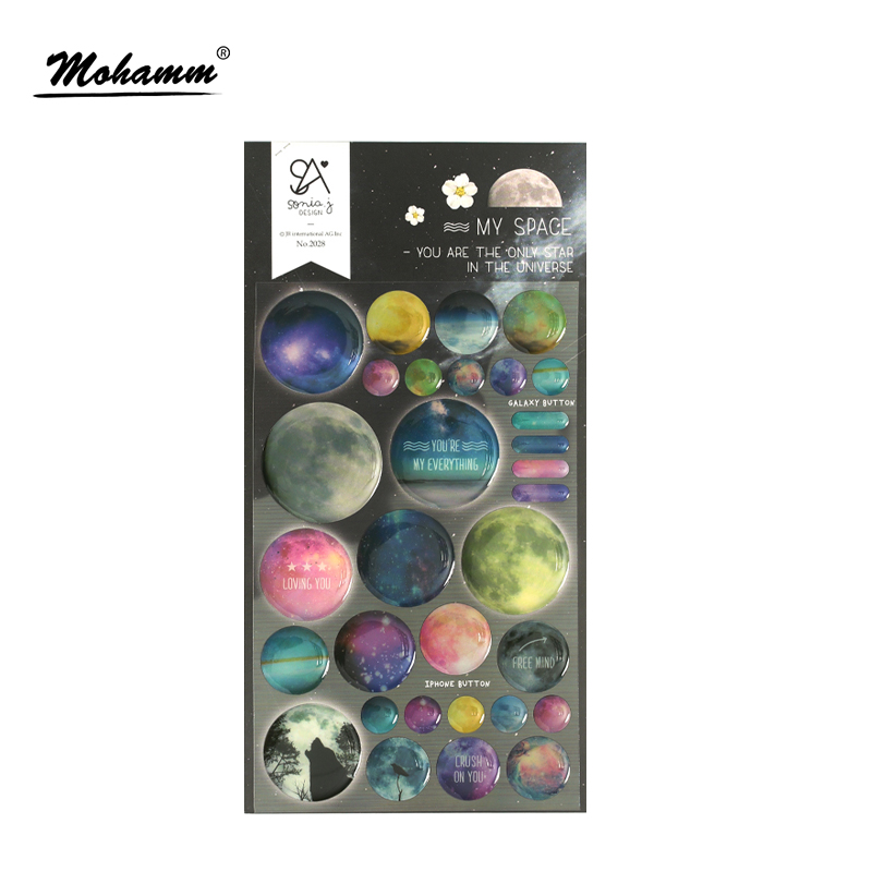 3D Cool Colorful Space Decorative Stickers Diary Sticker Scrapbook Decoration PVC Stationery DIY Stickers School Office Supply