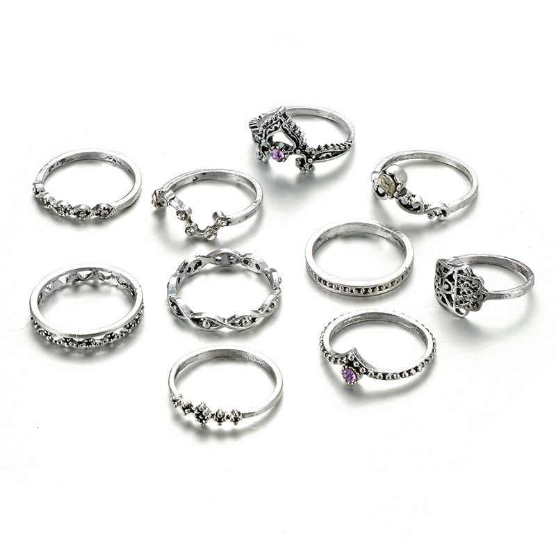 Tocona 10 pçs/set vintage antigo prata hasma conjunto anel de mão flor junta midi dedo para mulher escultura anéis presentes 4225
