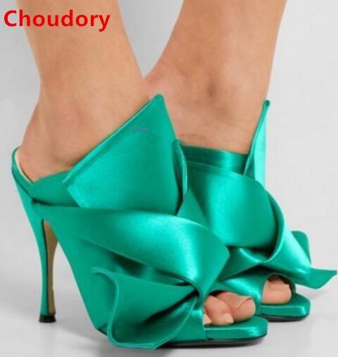 Solid color big bowtie slingbacks high heel sandals peep toe butterfly-knot stiletto heels dress sandal women pumps DFS199