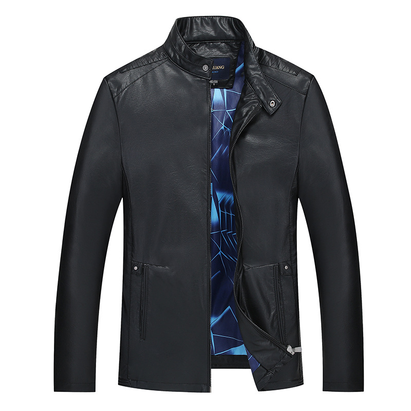MSAISS Spring New Quality Leather Jacket Men Casual Stand Collar Chaqueta Cuero Hombre Black Blouson Cuir Homme Leather Coat