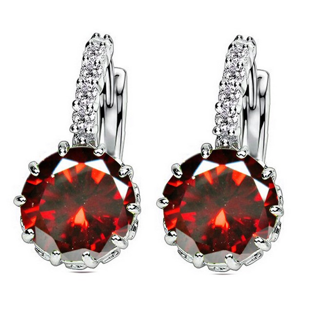 Fashion 9 Colors AAA CZ Element Stud Earrings For Women Round Crystal Earring Wholesale Factory Price