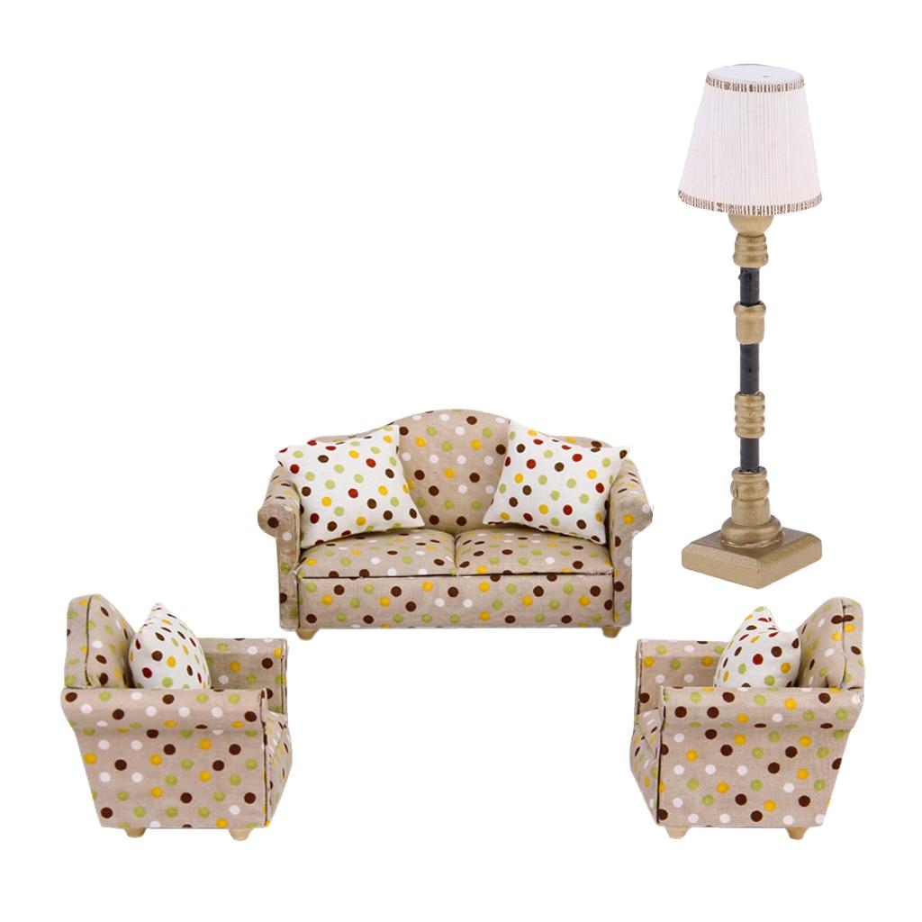 1 Pcs Mini Dollhouse Furniture Purple Plastic Sofa For  House Toys VL4 SP