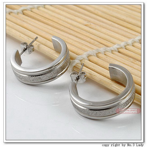 GOKADIMA Fashion Stainless Steel Circle Stude Earrings 2013 Men Earings For Women,Wholesale&new