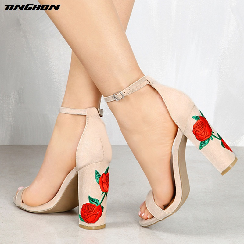 TINGHON Summer Sandalias Chunky High Heels Pumps Woman Elegant Rose Embroider Wedding Ankle Strap Women Sandals Party shoes