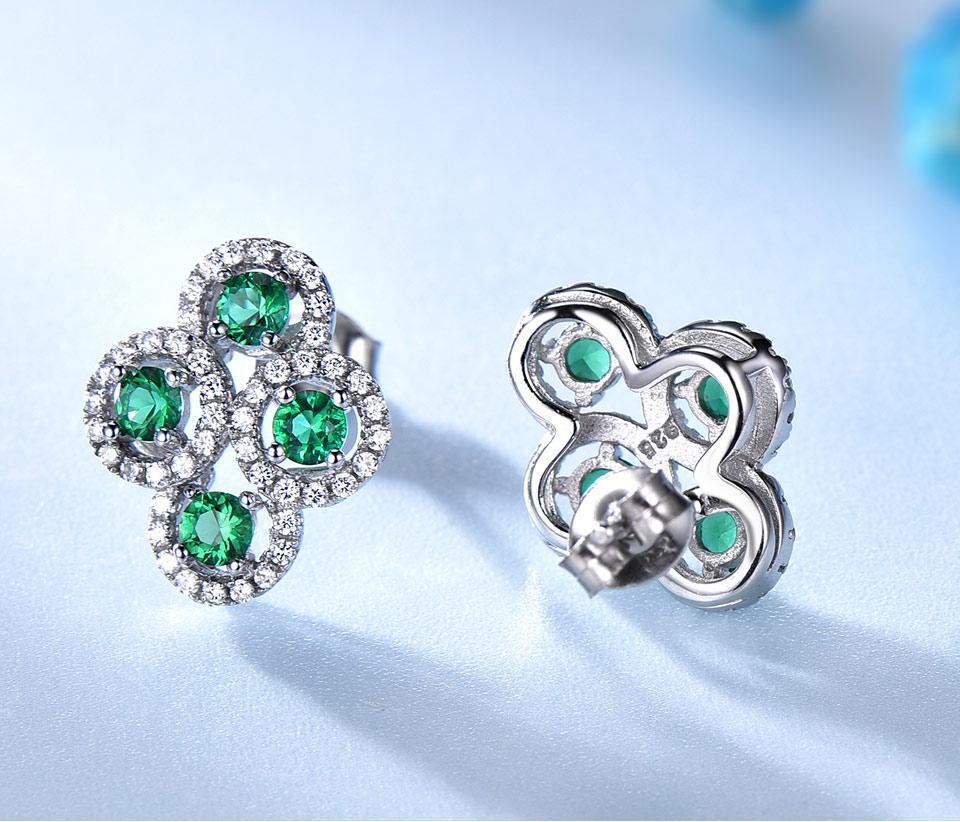 Emerald stud earrings for women UMCHO (3)