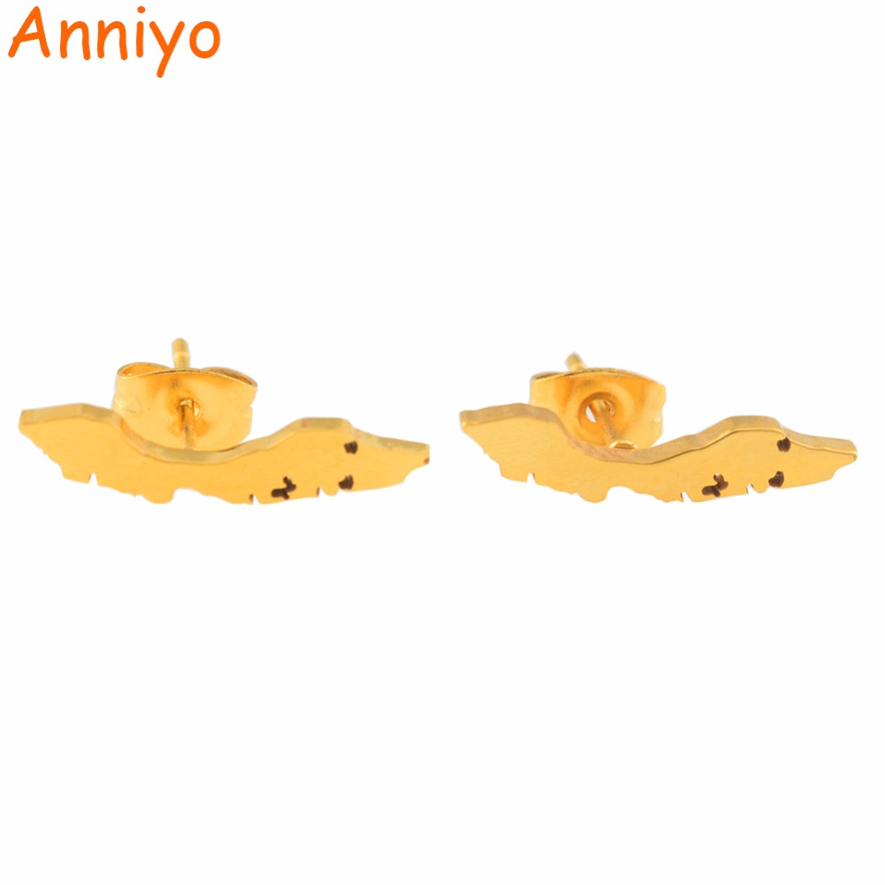 Anniyo Small Curacao Islands Map Stud Earrings Gold Color & Stainless Steel Jewelry Maps Gift #051921Anniyo Small Curacao Islands Map Stud Earrings Gold Color & Stainless Steel Jewelry Maps Gift #051921