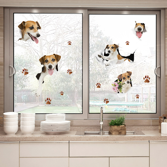Cute Dog Bathroom Wall Stickers For Kids Rooms Poster Vinyl Home