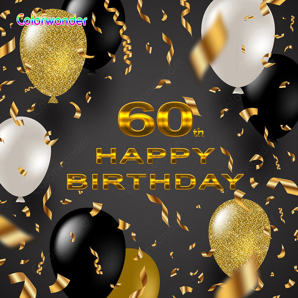 <font><b>Birthday</b></font> <font><b>Backdrops</b></font> for Photography Colorful Balloons with Glitter Ribbon Black Background for Happy <font><b>60th</b></font> <font><b>Birthday</b></font> Celebration image