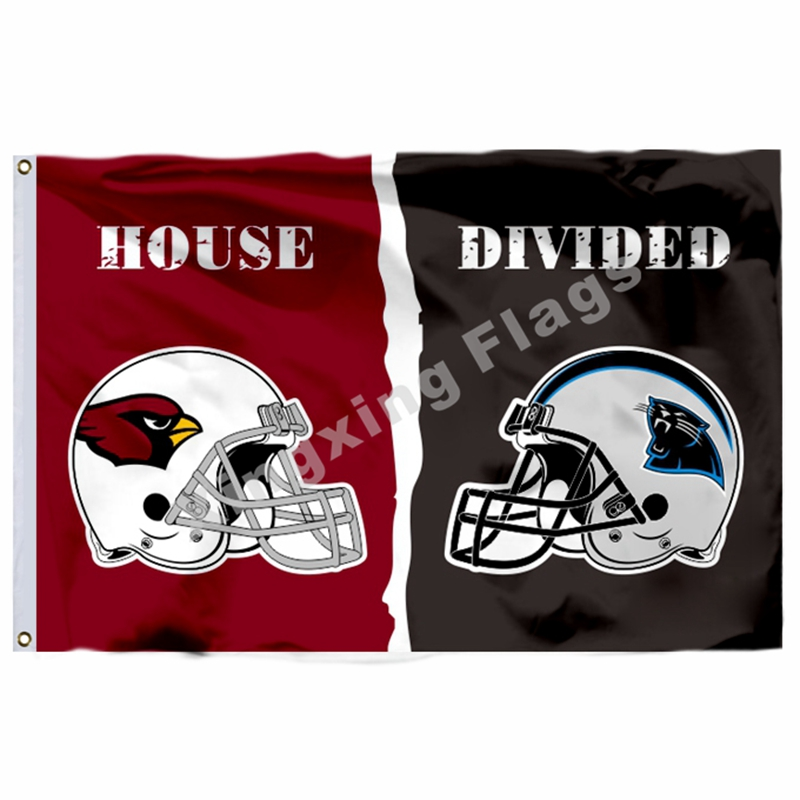 Arizona Cardinals Carolina Panthers helmets House Divided Flag 3ft x 5ft Polyester NFL Banner Size No.4 144*96cm Custom flag