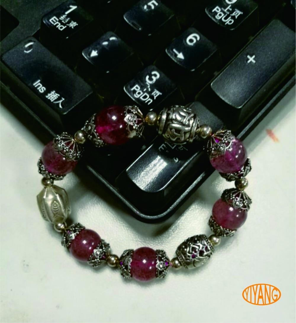 YY Handmade 925 sterling silver natural strawberry quartz boutique bracelet for wowan qq yy