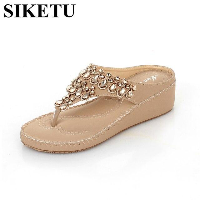 fa7b11172 SIKETU Rhinestone Slippers Women Bohemian Beaded Sponge Cake Heel Flip Flops  Large Size Shoes Woman 35-40