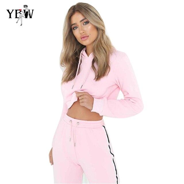 8f958f4d48e15 2018 conjunto de dos piezas para mujer Sudadera con capucha y pantalón  femenino Casual Fitness ropa