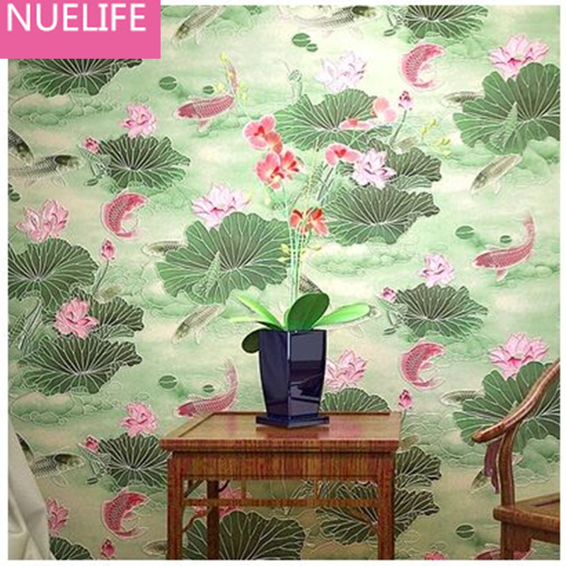 0.53x10m Chinese classical lotus green leaf wallpaper retro study room living room restaurant bedroom non - woven wallpaper N4
