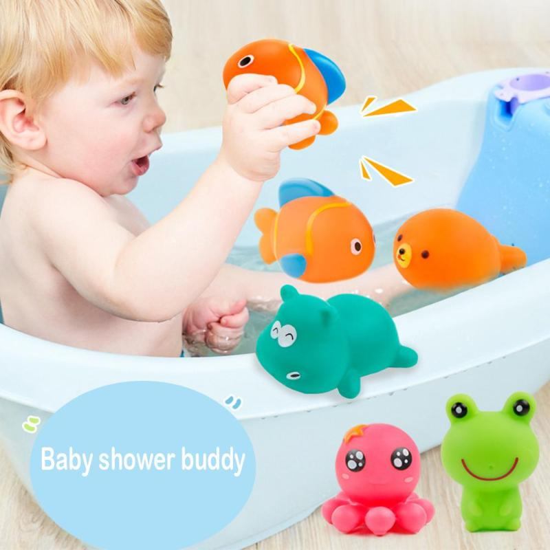 5pcs/set Baby Funny Squeeze-sounding Dabbling Shower Bath Toys Mini Rubber Water Spraying Children Toys Squirters Tub Pool Toys