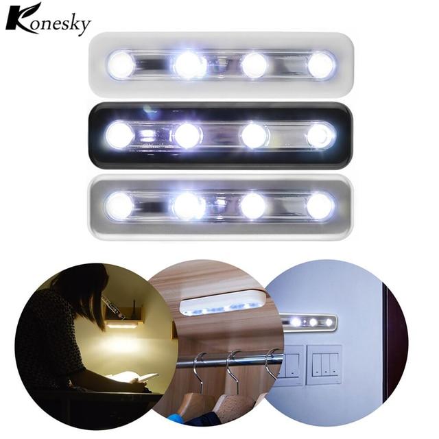 Konesky 4 LED Wireless Wall Light Mini Touch Sensor Night Light Closet Lamp  Use Battery Lighting