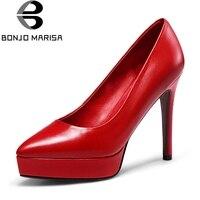 BONJOMARISA/красные туфли-лодочки на платформе с острым носком, Женская Осенняя обувь из натуральной кожи, модель 2019 года, туфли на высоком каблук...