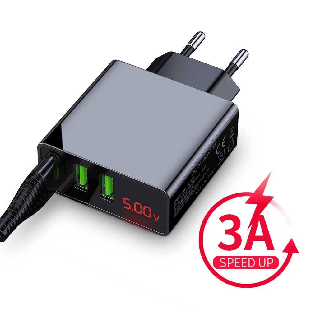 ROCK 3A Led-anzeige EU 3 USB Ladegerät Universal Handy USB Ladegerät Schnelle Lade Wand Ladegerät Für iPhone Samsung xiaomi