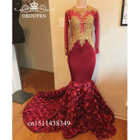 Chic Red Rose Flowers Prom Dresses With Gold Appliques Lace 2019 Long Sleeves Sheer Neck Mermaid Evening Dress For Women