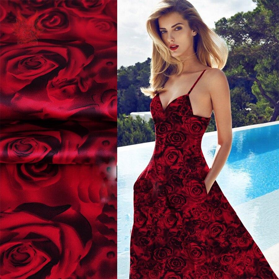 designer luxury red rose print spandex silk satin fabric for dress shirt 19mm silk satin fabric. Black Bedroom Furniture Sets. Home Design Ideas