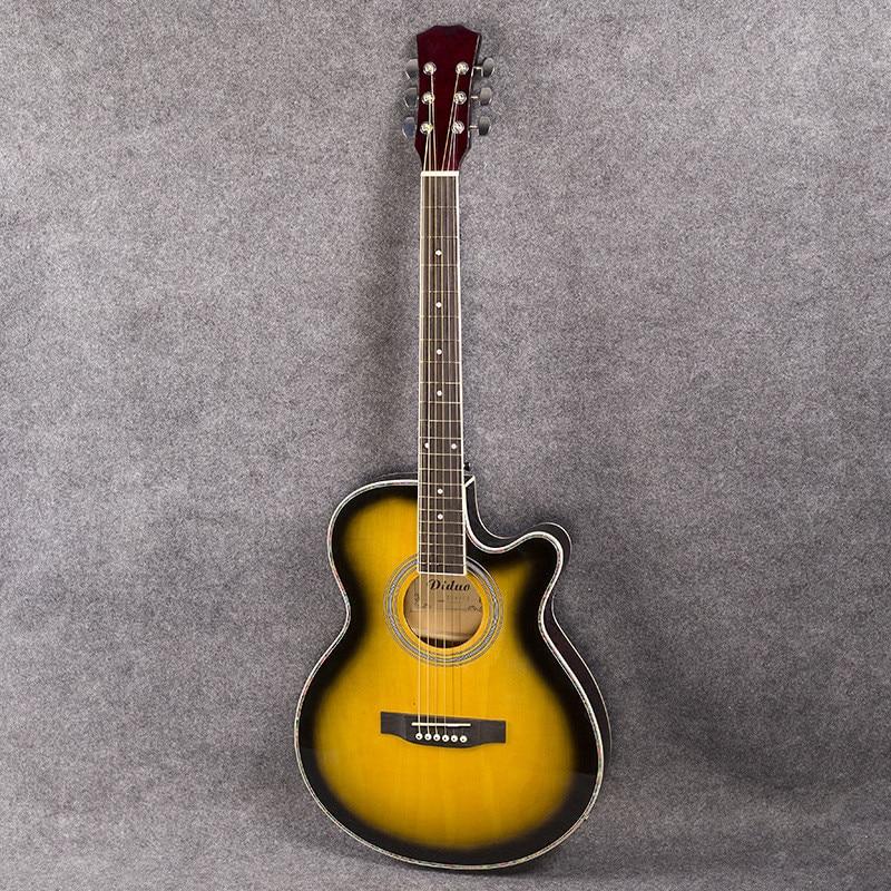 все цены на guitars 40-48 40 inch high quality Acoustic Guitar Sunset color Rosewood Fingerboard guitarra guitar strings онлайн