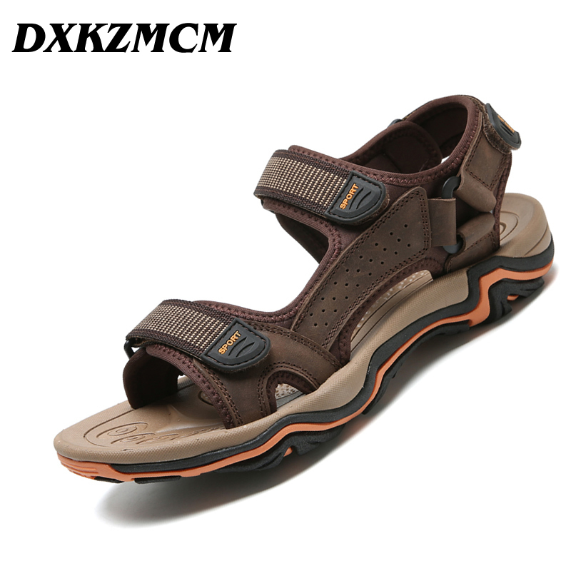 DXKZMCM Men Sandals Genuine Leather Summer Breathable Shoes Men Slippers Outdoor Casual Beach Shoes zeacava men s summer shoes breathable beach sandals