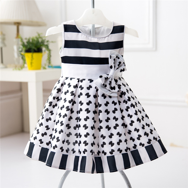 9548c6fb0d44 Sleeveless Striped Bow Girl Dress O Neck First Year Baby Baptism ...