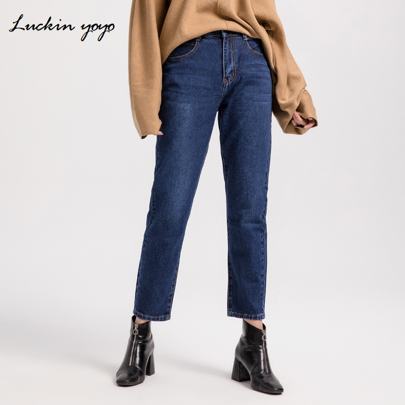 Luckin yoyo Autumn Plus Size Casual Loose   Jeans   for Women Blue Women's   Jeans   High Waist Full Length Mom Style Pants Femme   Jeans