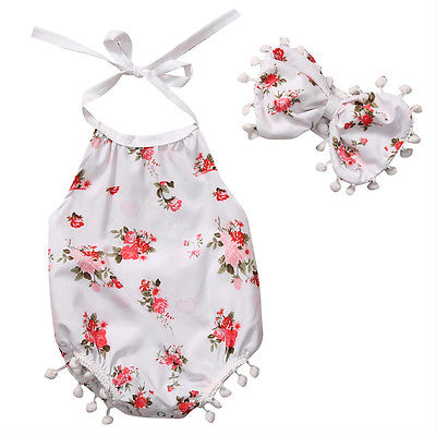 Baby Girl Clothes Newborn Toddler Kids Girls Cotton Bodysuit Jumpsuit + Bowknot hairband 2Pcs Outfits Clothes Set