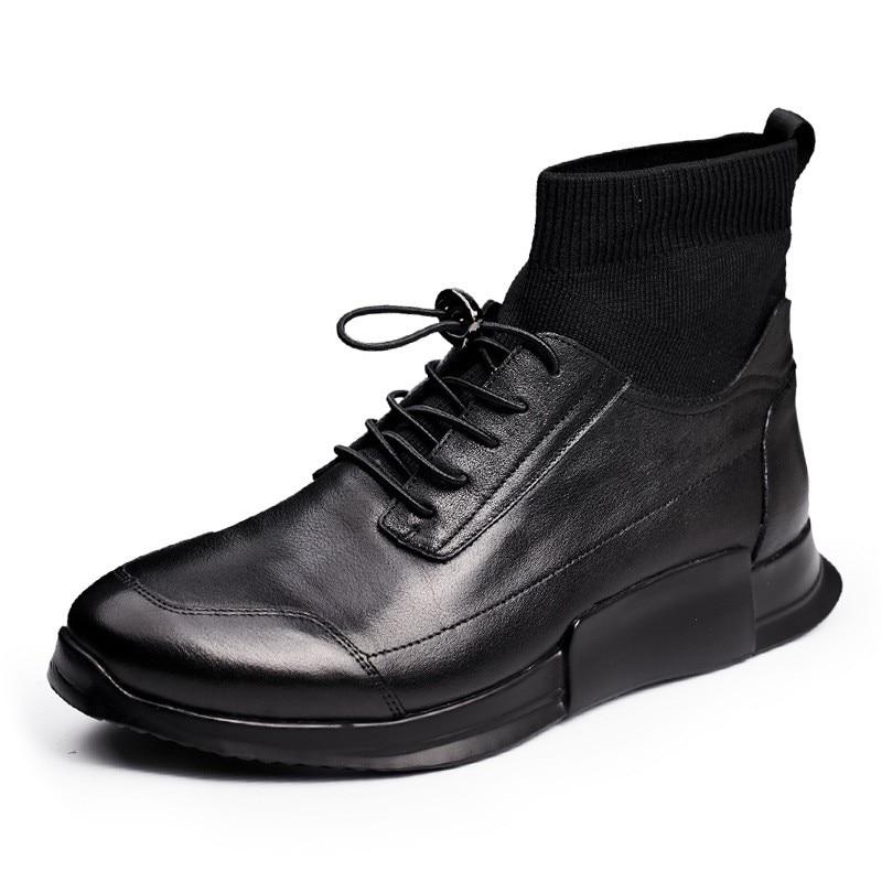 Zapatos de calcetín casuales de hombre de cuero genuino de alta altura de tobillo de deslizamiento en zapatillas de deporte de lujo botas de marca masculina de otoño negro zapatos planos zapatos - 2