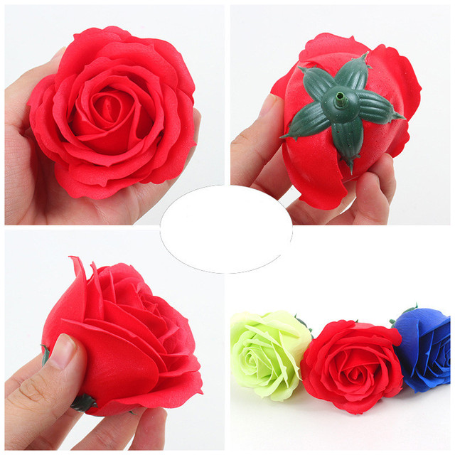25Pcs/Box Big Size Bath Soap Rose Flower Plant Essential Oil Soap Romantic Wedding Party Gift Handmade Petals Decor 1
