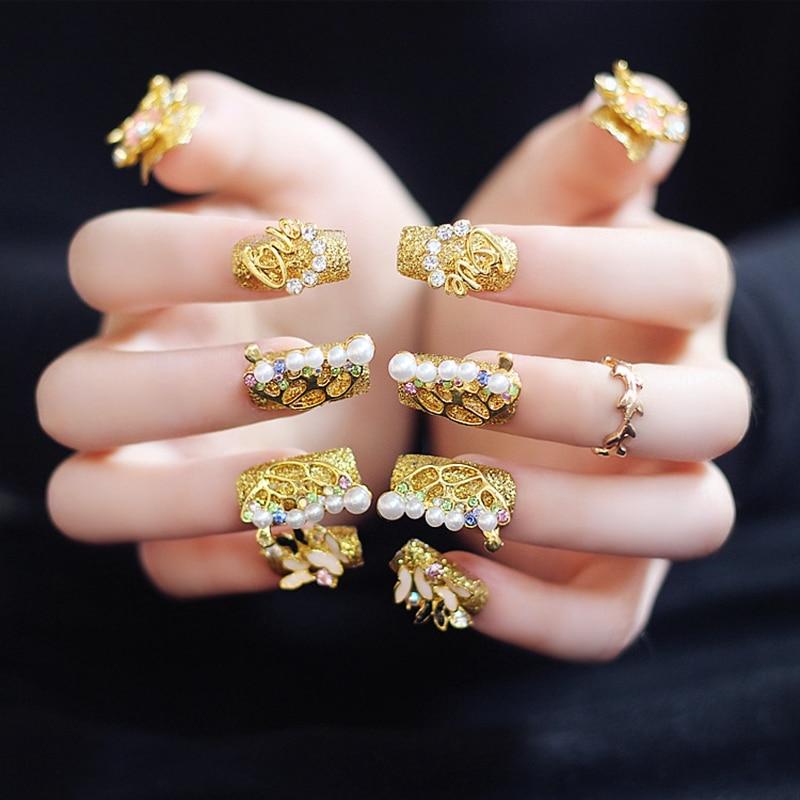 Gorgeous 3D Gold Fake Nails Ladies Square Long Party Amazing Decoration Acrylic Designed Nails EchiQ Art
