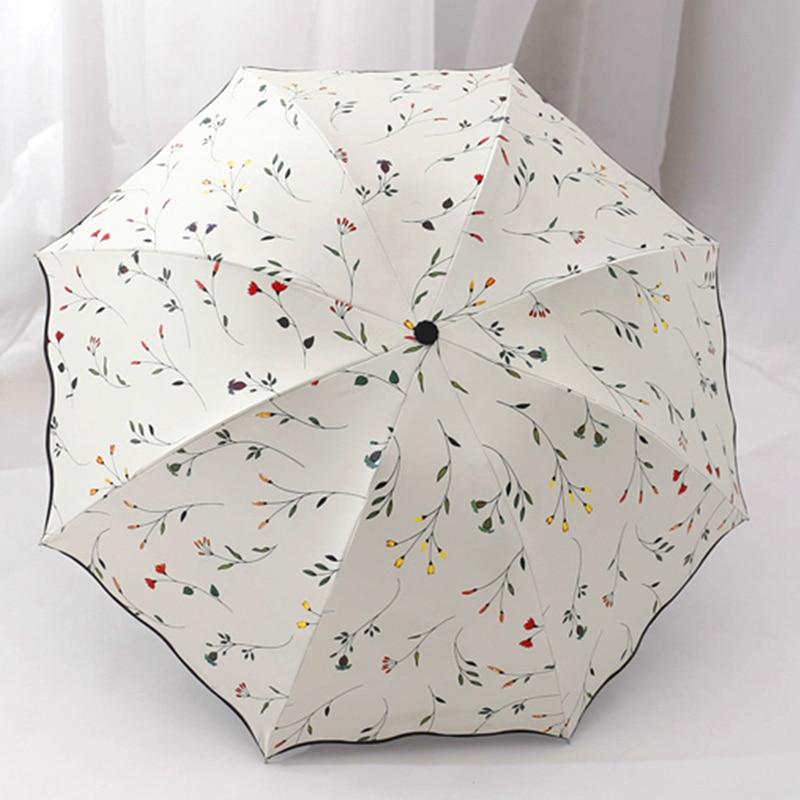 Шикарный цветочный наружное складной Зонты Защита от солнца компактный Для женщин женские Леди ветрозащитные непромокаемые прекрасный цветок конфеты красочный зонтик