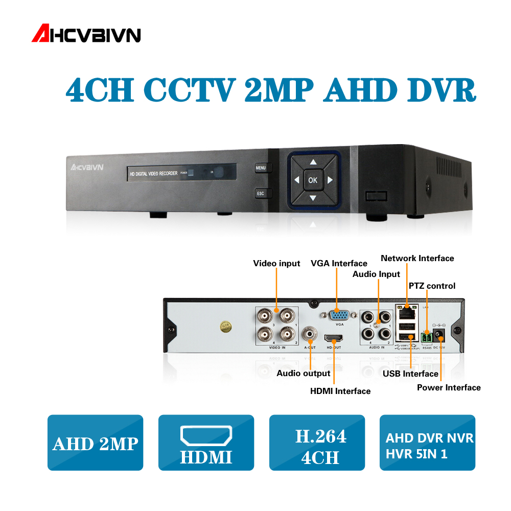 купить 4CH AHD DVR Recorder 1080P 720P 960H Network DVR 4 Channel H.264 CCTV 4CH DVR HVR NVR System P2P Digital Video Recorder по цене 3873.82 рублей