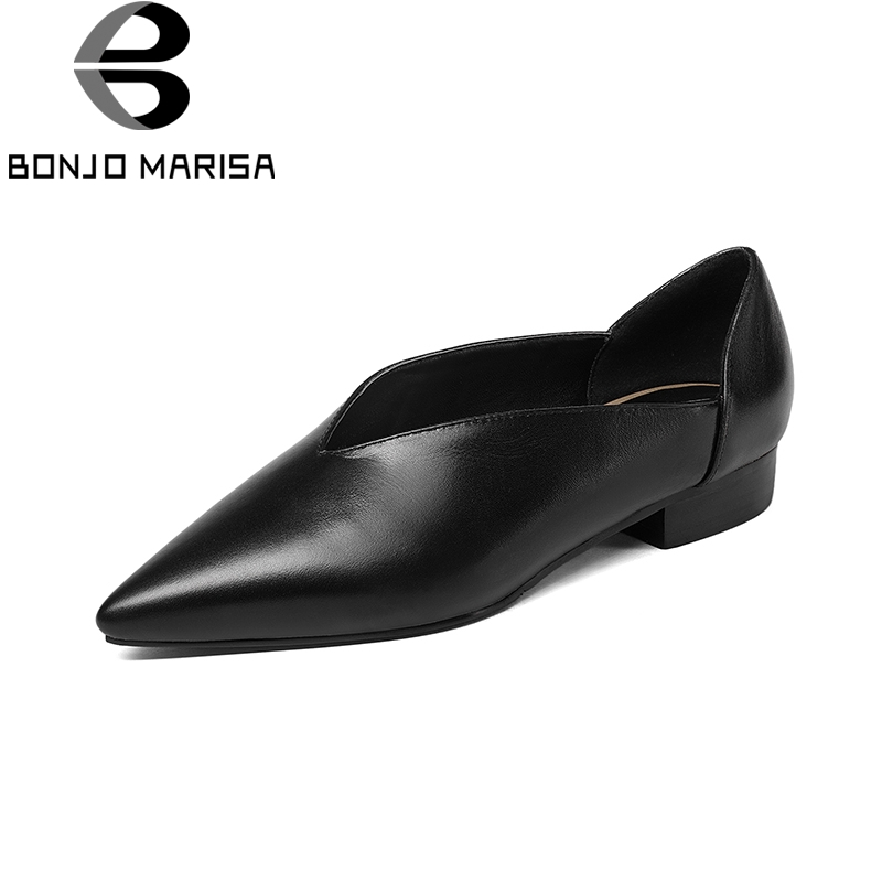 BONJNOMARISA 2018 Genuine Leather Large Size 34-41 Brand Cow Leather Women Flats Slip On Spring Comfortable Shoes new fashion luxury women flats buckle shallow slip on soft cow genuine leather comfortable ladies brand casual shoes size 35 41