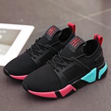 Sneakers female flying woven hollow mesh summer breathable soft bottom fitness running
