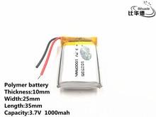 5 יח\חבילה טוב Qulity 3.7 V, 1000 mAH, 102535 פולימר ליתיום יון/ליתיום סוללה עבור צעצוע, כוח בנק, GPS, mp3, mp4