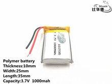 5pcs/lot Good Qulity 3.7V,1000mAH,102535 Polymer lithium ion / Li ion battery for TOY,POWER BANK,GPS,mp3,mp4