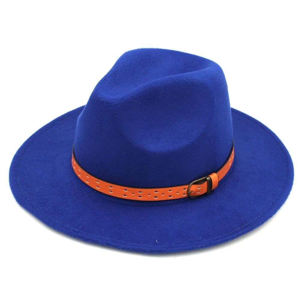 8ef98dc64ce Mistdawn Women Men Wool Blend Panama Hats Wide Brim Fedora Trilby Caps  Orange Belt Band