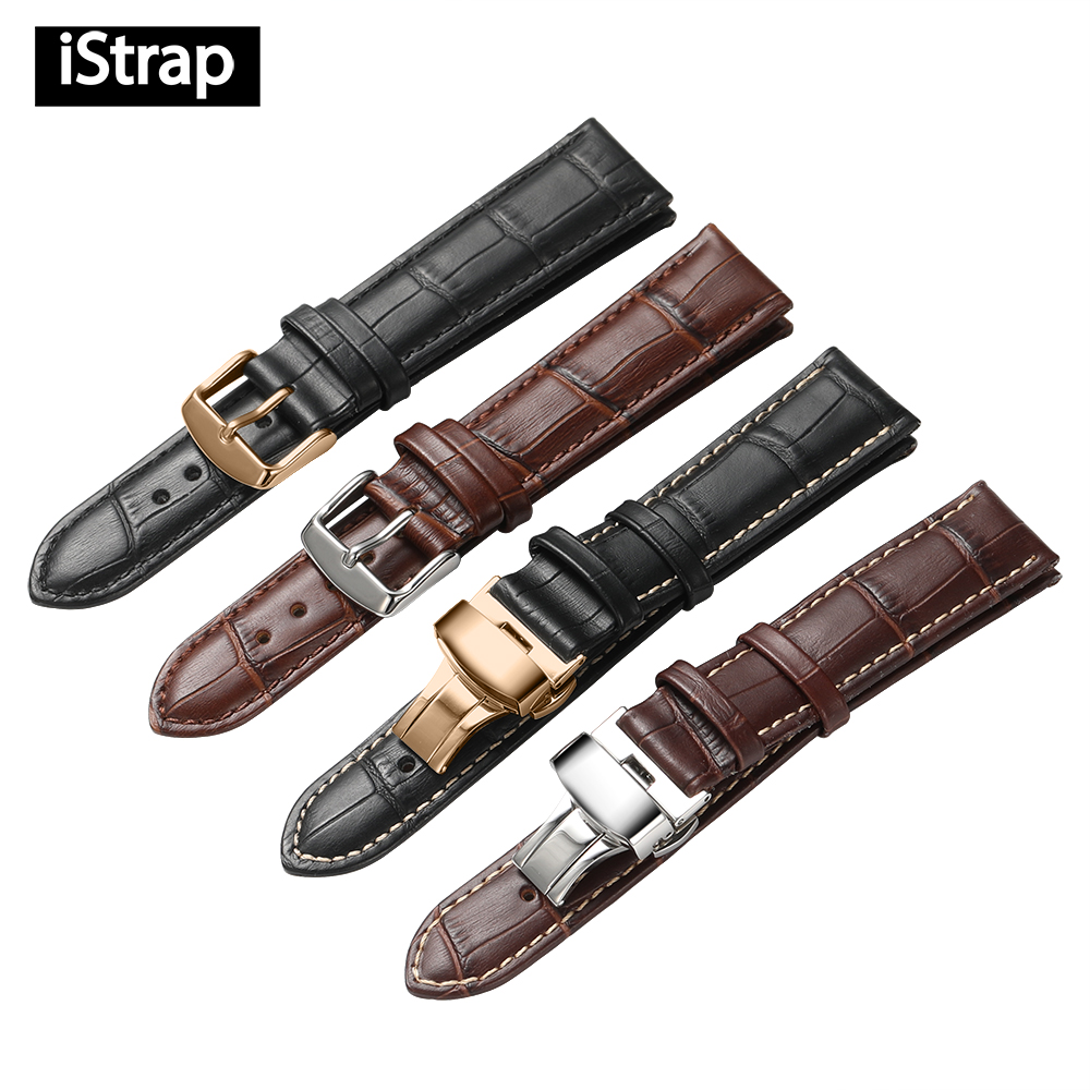 IStrap Correa 18mm 19mm 20mm 21mm 22mm 24mm becerro suave correa de reloj de cuero genuino cocodrilo grano banda de reloj para Tissot Seiko