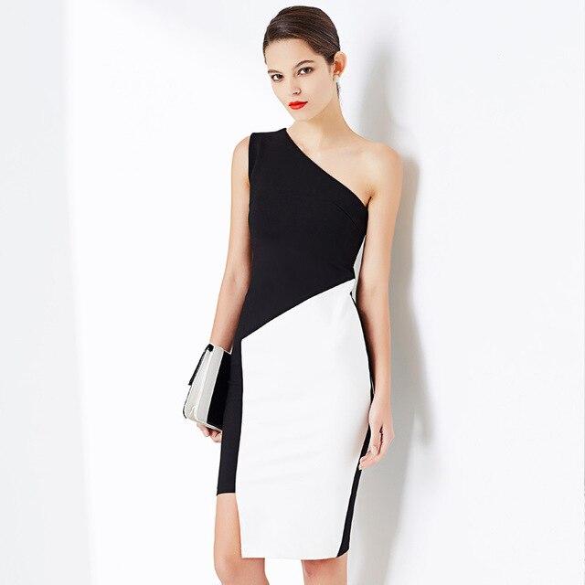 c591db0babdc0 مثير تصميم واحد الكتف اللباس النساء رداء منحرف حمالة Vestidos أسود أبيض  الخريف وجيزة امرأة غمد
