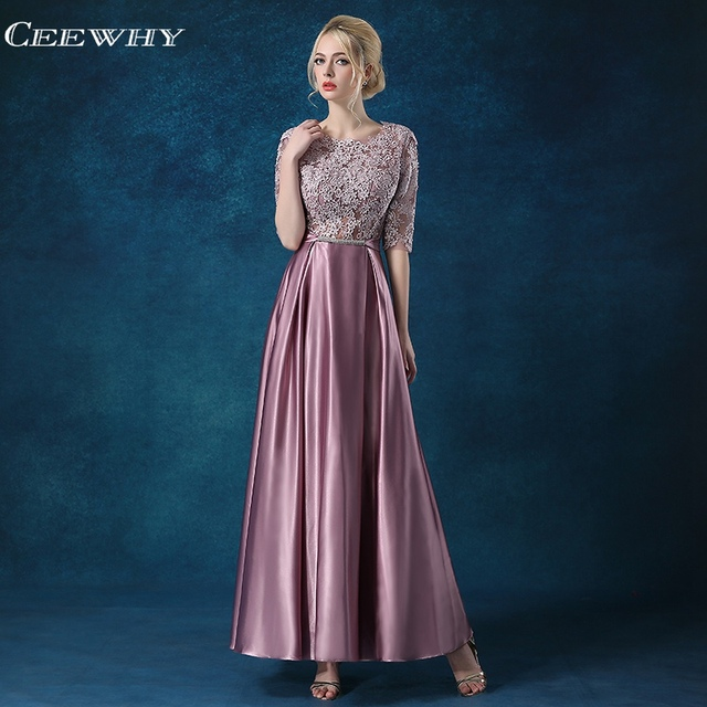 CEEWHY Half Sleeves Formal Dress Women Elegant Appliques Evening Gown  Embroidered Evening Dress Plus Size Vestido de Festa Longo f86f32cf65bc