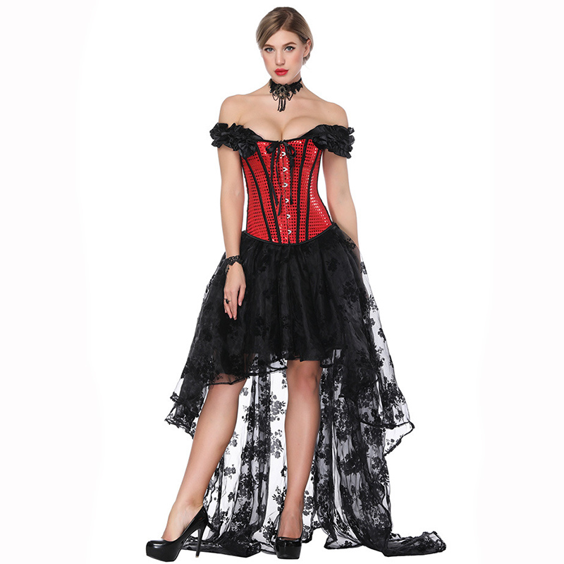 Red&Black Victorian   Corsets   And   Bustiers   Gothic Dress   Corset   Steampunk Clothing Vintage Burlesque Costume Sexy Korsett For Women